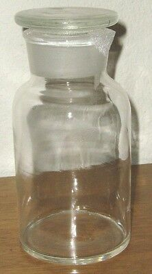 Glass lab reagent bottle wide mouth 500ml 16oz chemistry biology glaassware New