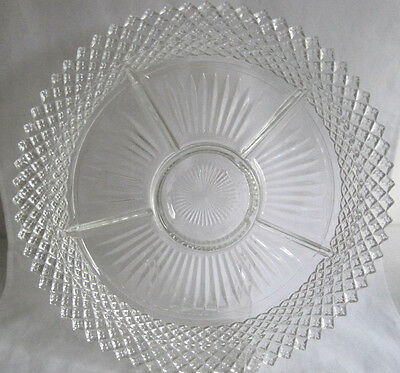 Hocking Miss America Depression Glass Relish Chip Dip Dish Plate 5 Part Divided