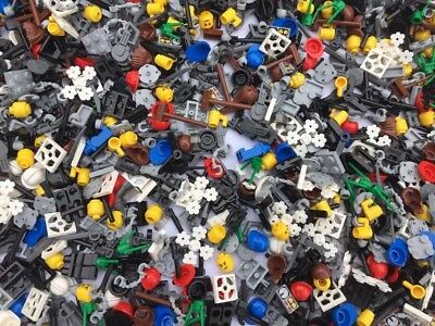 LEGO 50 Pieces  Random Mix Accessories Hair Tools Weapons Hats Visors Legs Heads