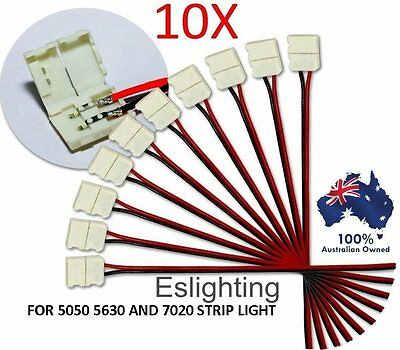 10X 10Mm Led Strip Light Connector 5050 5630 Single 2 Pin Wire Joiner Adaptor
