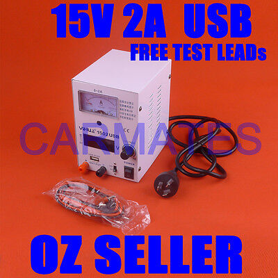 Adjustable Variable DC Power Supply Linear Mode 15V 2A USB port Electronic Test