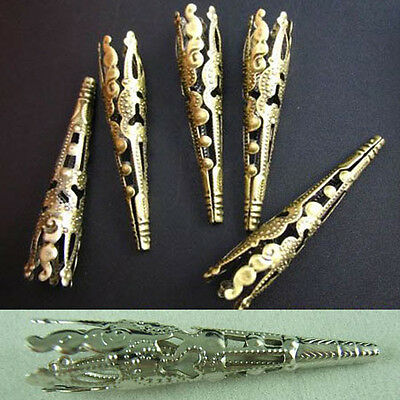 Wholesale 30pcs Gold/Silver Plated Long Bead Caps 41mm Jewelry Findings