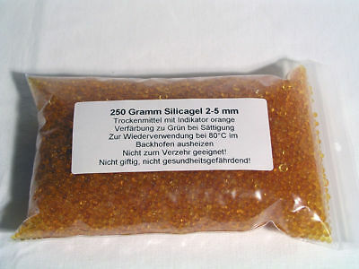 250 Gramm Silicagel Trockenmittel orange 2-5 mm - Grundpreis: 14,00€/kg