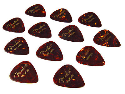 12x Fender 351 Plectrum Picks Pleks Shell Medium Plektren Set für E-Gitarren