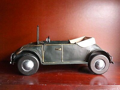30cm Rustic Metal Handmade Model VW Topless Bug - Green/Yellow Interior