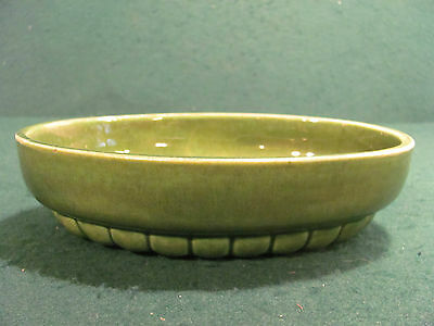 VINTAGE HAEGER GREEN OVAL POTTERY BOWL