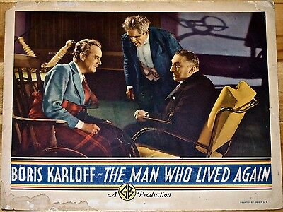 Cut 30$ Man Who Lived Again '36 Lc Karloff Is Love Crazed Scientist!  Very Rare!