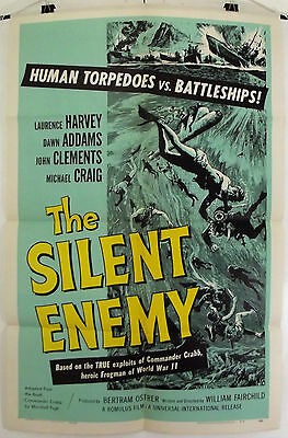 The Silent Enemy -Laurence Harvey / Dawn Addams- Original Usa 1Sht Movie Poster