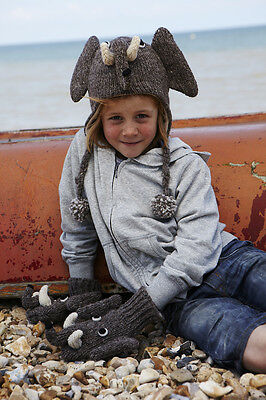 Elephant Animal Hat / Mittens - HANDMADE by Pachamama - one size (3-7 years)
