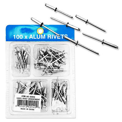 100pc Rivet Assortment Set Blind Pop Riveter Tool Kit