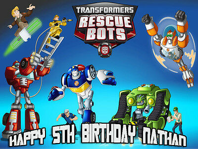 Transformers RESCUE BOTS Edible Photo CAKE Image Icing Topper FREE SHIPPING