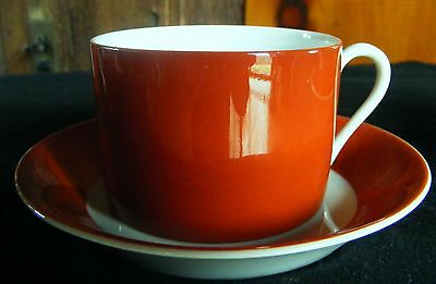 """ONE cup and saucer set by Fitz & Floyd, Pattern """"Rondelet -Terra Cotta """"."""