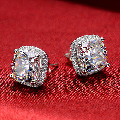 1 Ct/Piece Cushion Cut Halo Style SONA Diamond Stud Earrings 925 Sterling Silver