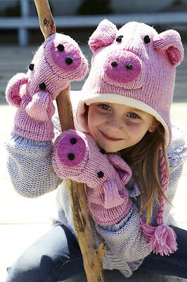 Pig Animal Hat / Mittens - HANDMADE by Pachamama - one size (3-7 years)