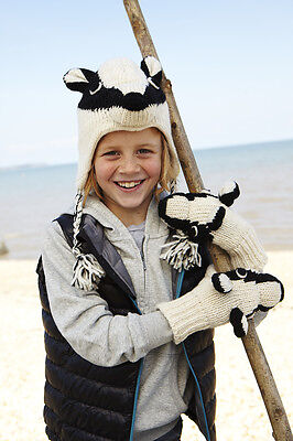 Badger Animal Hat / Mittens - HANDMADE by Pachamama - one size (3-7 years)