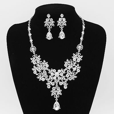 Wedding Bridal Silver Diamante Crystal Necklace Earrings Set Nw Jewelry Prom Uk