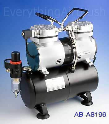 Oil-Less Mini Piston Twin Cylinder Airbrush Compressor With 3 Litre Tank