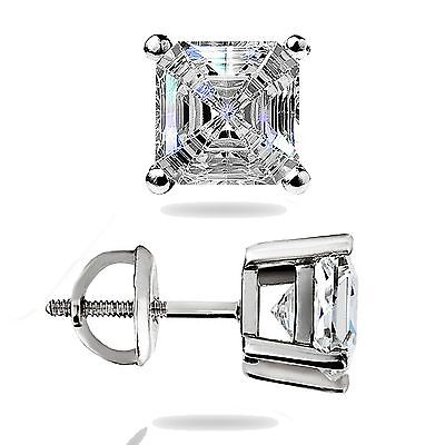 1.50Ct Asscher Cut Solitaire Stud Earrings Lab Diamond 14k White Gold Screw Back
