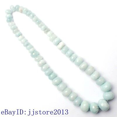 6x9-13x18mm Faceted Light Blue Aquamarine Rondelle Shape Loose Beads Strand 15""