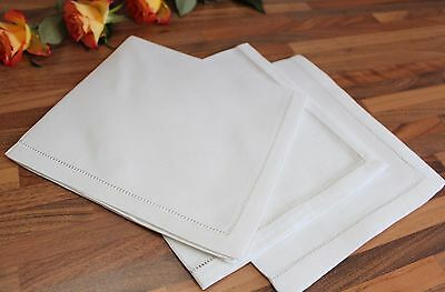 White 100% Cotton or Linen Dinner Napkins - Hemstitch Table Linen Cloth