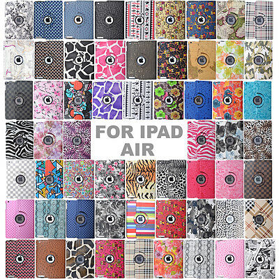 60 Styles 360 Rotating PU Leather Case Smart Stand Cover Skin For IPad AIR 1