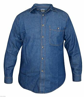 True Face New Mens Dark Wash Denim Shirt Long Sleeves Collar Cotton Casual Top