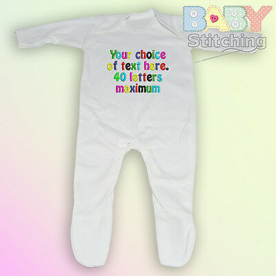 Your Choice of Words Personalised Embroidered Romper Babygrow Baby Girl Boy Gift