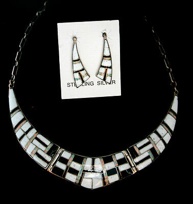 Zuni Inlay Necklace & Earring Set White Buffalo Opal Jet Sterling Silver Indian