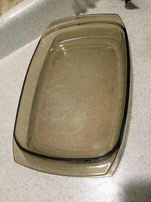 Vintage Arcopal France Amber Glass Brown Casserole Cake Baking Serving Dish Pan