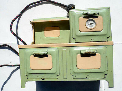 Vintage Girard Electric Toy Tin Oven & Stove 2 Burners