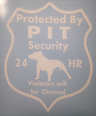 Pitbull dog Security Decal, Pit Bull Dog, Rescue Dog, Guard Dog