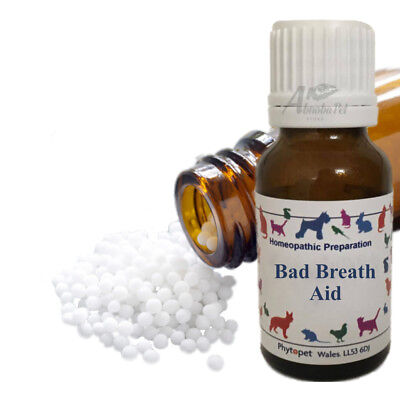 Phytopet Bad Breath Aid Homeopathic Carbo veg Nux vom Fragaria and Okoubaka Dog