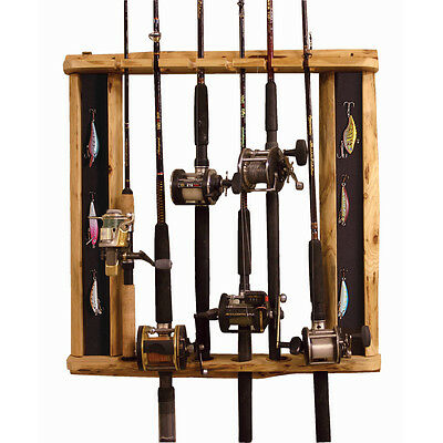 Fishing rod wall ceiling mount vertical storage rack for Wall fishing rod holder