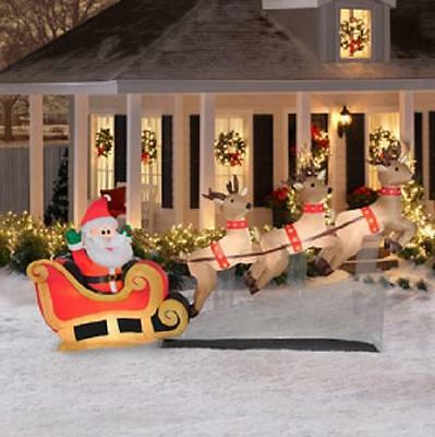 10ft SANTA REINDEER SLEIGH Outdoor Christmas Lighted Airblown Inflatable Decor