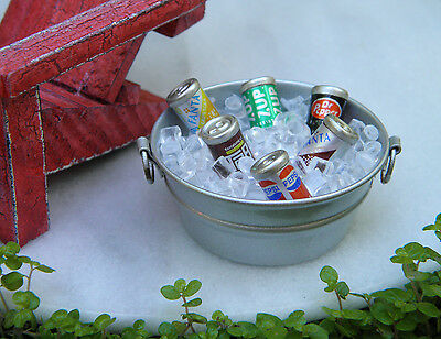 Miniature Dollhouse FAIRY GARDEN Accessories ~ Tub with Ice & Soda Cans ~ NEW