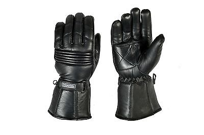 Genuine Soft Leather Strap Thinsulate Motorcycle Leather Winter Riding Gloves
