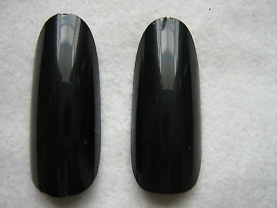 50x Faux-ongles Complet Noir Ovale Rond