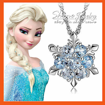 SILVER PLATED SNOWFLAKE FROZEN QUEEN Elsa BLUE LAB DIAMOND SOLID NECKLACE GIFT