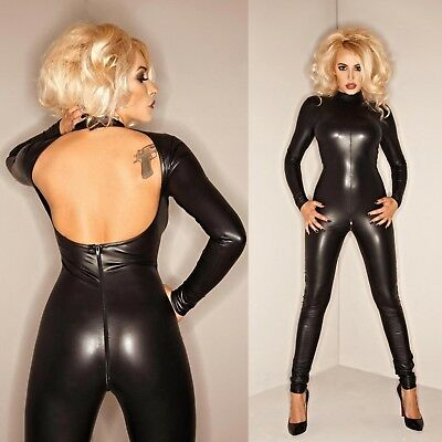 NOIR HANDMADE Watch Your Back Wetlook Catsuit GOTHIC CLUBWEAR PARTY GO-GO
