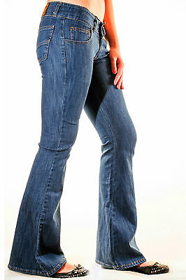 Womens Vintage Blue Stretch 70's Retro Bell Bottom Flared Jeans New Sizes 8 - 18