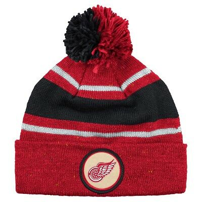 7129287be18 Detroit Red Wings Mitchell   Ness NHL Vintage Speckled Cuffed Knit Hat w   Pom