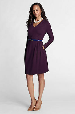 $99 Lands' End Pleat Shoulder Drapey Ponté V-neck Dress,perfect flight attendant