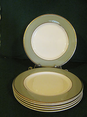 SET OF 6 TAYLOR SMITH &TAYLOR CLASSIC HERITAGE GREEN GOLD TRIM DINNER PLATES