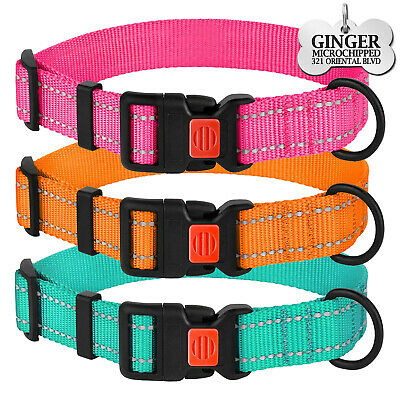 Leather Dog Collar Personalized ID Tag Puppy Custom Engraved Collars S M L XL