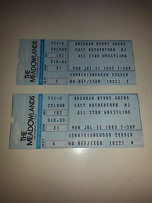 Pair of WWF Ticket Stubs from July 11, 1983 All Star Wrestling, The Meadowlands