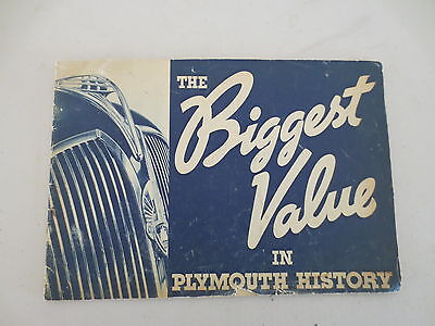 Original 1937 Plymouth advertising booklet The Biggest Value in Plymouth History