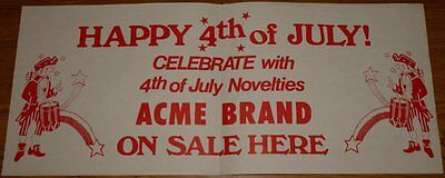 1970s ACME BRAND FIREWORKS 4th OF JULY POSTER
