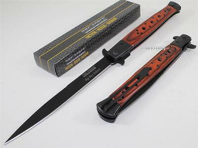 TAC-FORCE Huge Brown Stiletto Spear Point Spring Assisted Opening Pocket Knife