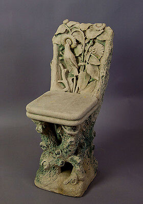 rare antique figural carved sandstone garden chair - piemont italy