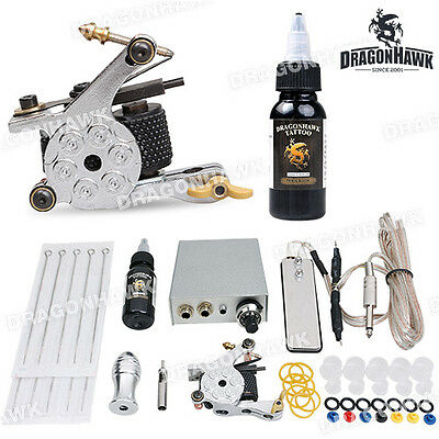 Professional Beginner Tattoo Kit 1 Machine Gun Power Supply 10 Needles Ink Set